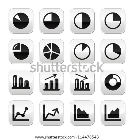 Chart graph black buttons set for infographics - stock vector