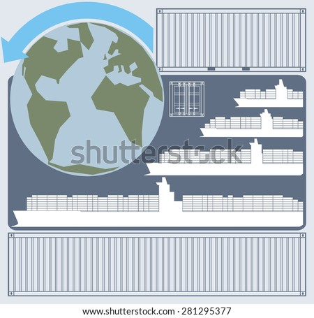 Chart illustrating the economies of scale related to large container ships/vessels. Also shown are the Earth and maritime shipping containers - vector illustration. - stock vector