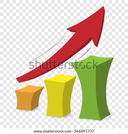 Chart with arrow. Colorful cartoon illustration on transparent background - stock vector