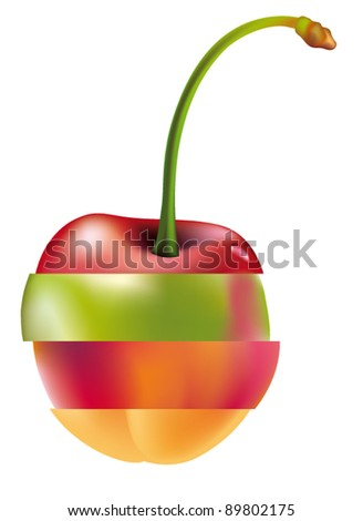 chart with fruit sections - stock vector