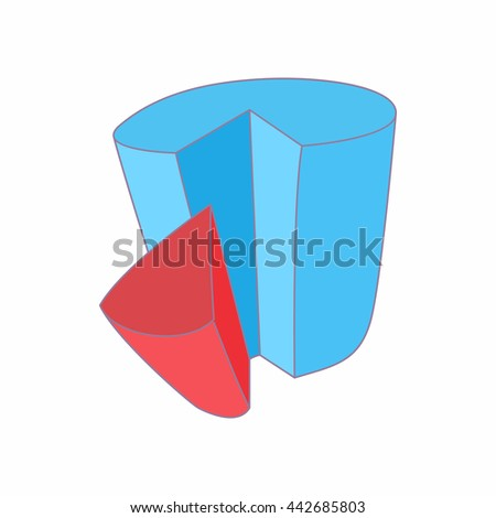 Chart with shares icon in cartoon style isolated on white background. Measurement symbol - stock vector