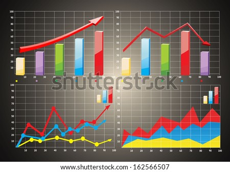 Charts. 3D Business charts - stock vector