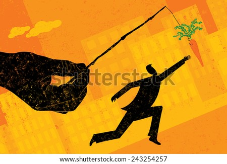 Chasing a Carrot A businessman chasing a dangling carrot. The hand, man, and carrot are on a separate labeled layer from the background. - stock vector
