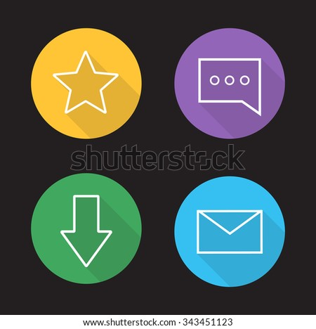 Chat app ui linear icons set. Add to favorite, rating star button, chat bubble, download arrow, send massage, email letter. Long shadow outline symbols. Vector line art illustrations on color circles - stock vector