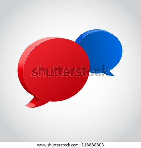 Chat bubble 3d vector icon, Chat red blue icon, Vector illustration - stock vector