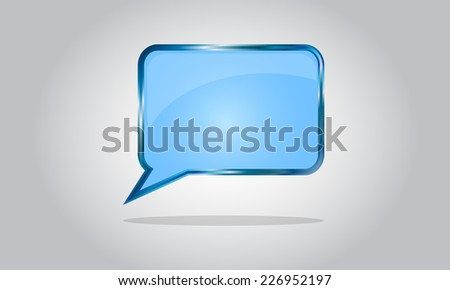 Chat bubble icon - abstract vector glossy speech - blue - stock vector