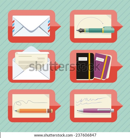 Chat bubble icon set for office objects and supplies with envelope, digital pen, organizer, pen and pencil - stock vector