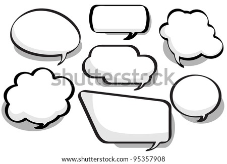 Chat Bubbles - Chat bubbles in a variety of circular, bubble and rectangular styles - stock vector