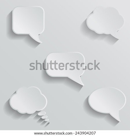 Chat bubbles - paper cut design. White color on light grey background. - stock vector