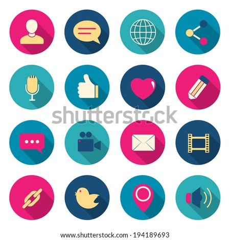 Chat color icons set. vector illustration - stock vector