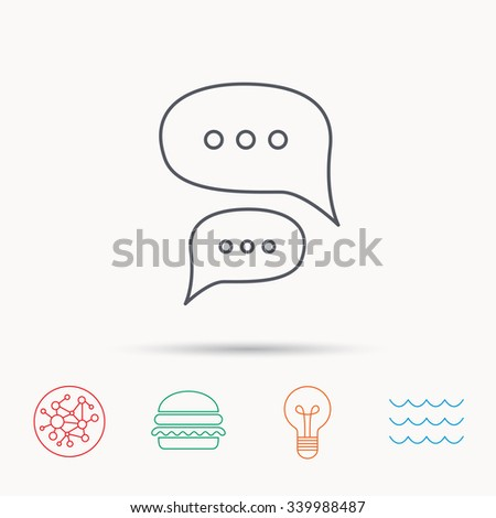 Chat icon. Comment message sign. Dialog speech bubble symbol. Global connect network, ocean wave and burger icons. Lightbulb lamp symbol. - stock vector
