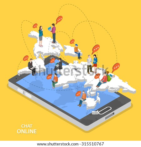 Chat online isometric flat vector concept. Isometric model of earth continents are hovering over the smartphone with chatting people on it. - stock vector