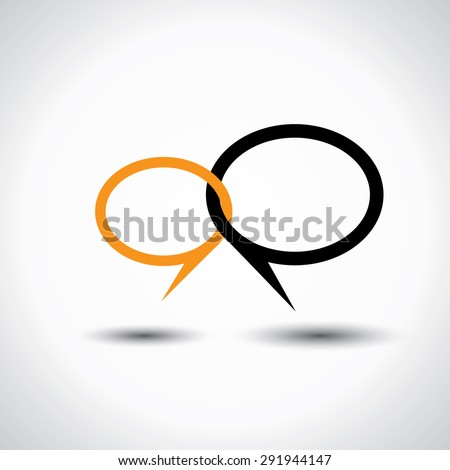 chat or talk symbol or speech bubble - concept vector line icon. This also represents intimate relationship, deep communication, love talk, discussion, open dialog, close interaction - stock vector