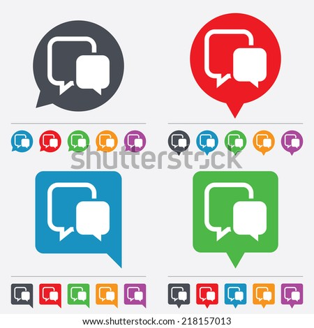 Chat sign icon. Speech bubble symbol. Communication chat bubble. Speech bubbles information icons. 24 colored buttons. Vector - stock vector