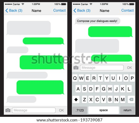Chat / sms application template ,can place your own text in the message boxes - stock vector
