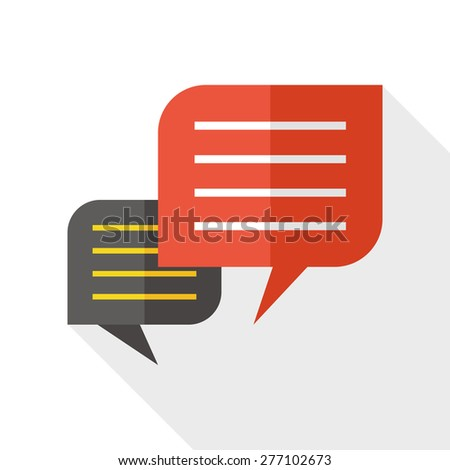 Chat speech flat icon with long shadow - stock vector