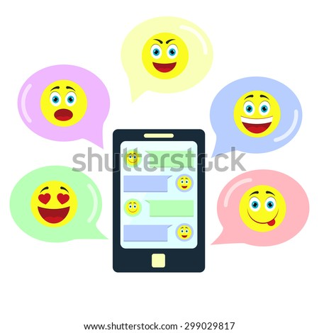 Chat with emoticons. Chat in an application on the smartphone using different emoticons - stock vector