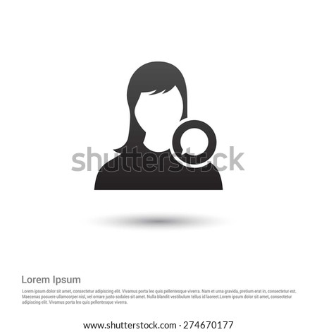 Chat with female Icon. Support on chat icon concept - stock vector