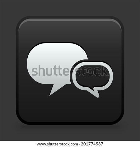Chatbubble Icon on Black and White Button  - stock vector