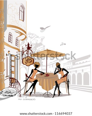 Chatting girls in the street cafe in the old city - stock vector