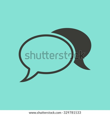 Chatting  icon  on green background. Vector illustration. - stock vector