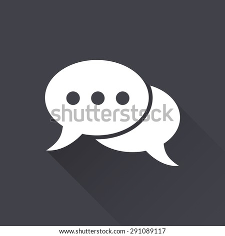 Chatting  - white icon with a long shadow on a black background. Vector illustration. - stock vector
