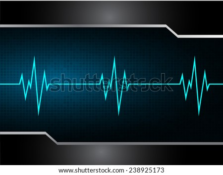 cHeart beat, cardiogramm. Pulse icon. blue background.  - stock vector