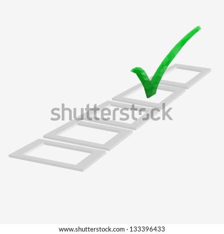 Check-box with green check-mark - stock vector