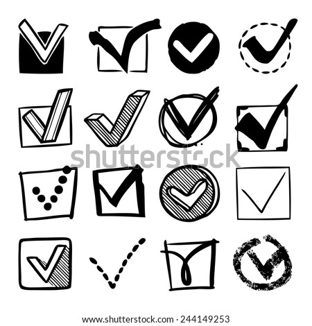 Check boxes with confirm marks checklist decorative sketch icons set isolated vector illustration - stock vector