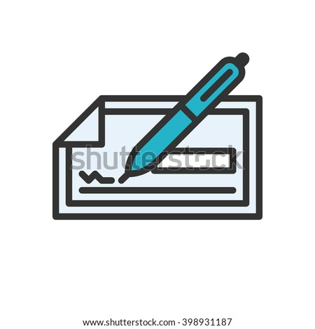 Check. Colored scalable vector icon in outline style. - stock vector