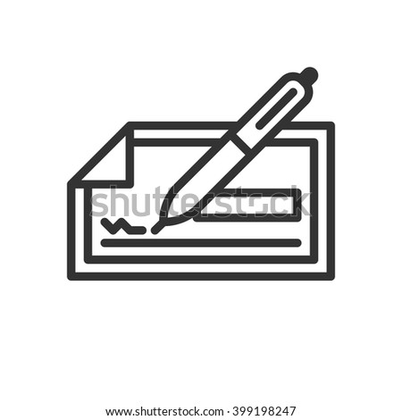 Check. Fully scalable vector icon in outline style. - stock vector