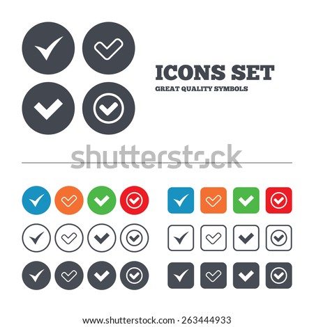 Check icons. Checkbox confirm circle sign symbols. Web buttons set. Circles and squares templates. Vector  - stock vector