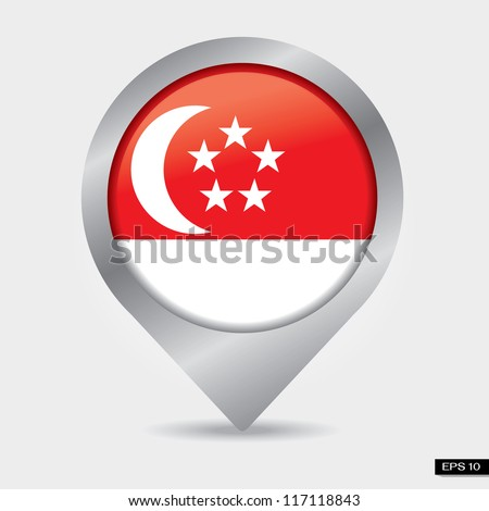 Check-in singapore flag - stock vector