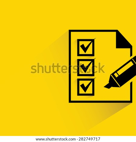 check list, flat and shadow theme - stock vector