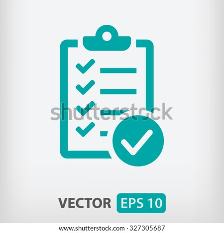 Check list icon vector eps 10 and jpg. Green Checklist icon on a gray background.  - stock vector