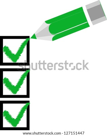 Check list pencil green - stock vector
