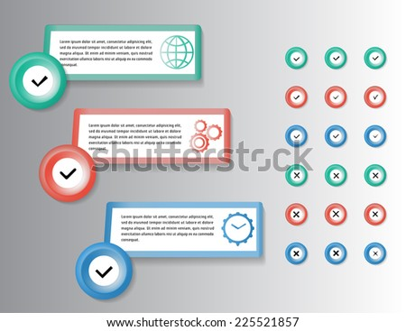Check list. Set of different vector check marks or ticks in boxes and circles. Vector illustration. - stock vector
