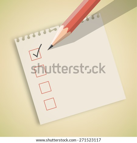 Check List with Pencil Vector - stock vector