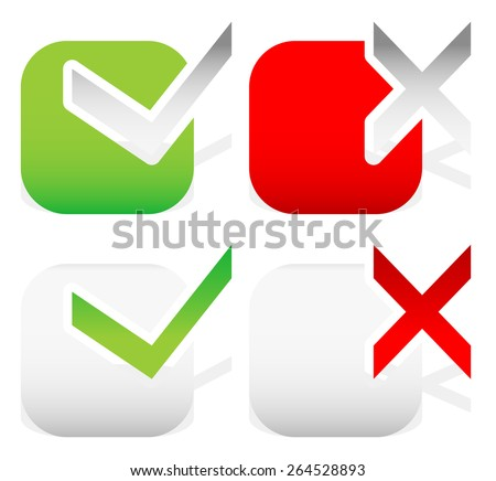 Check mark and Cross in Green, Red and Gray - stock vector