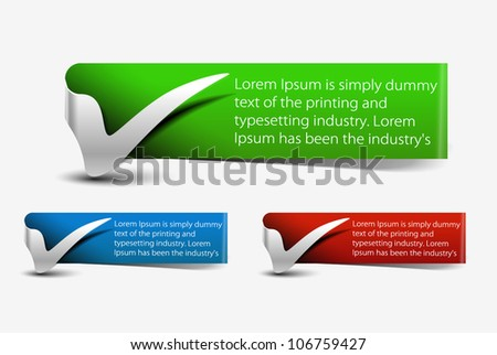 Check mark banner design. Vector. - stock vector