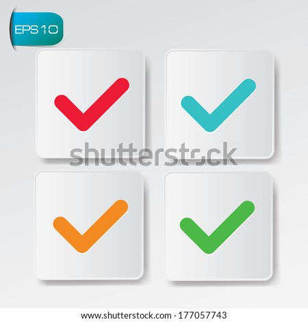 Check mark buttons,vector - stock vector