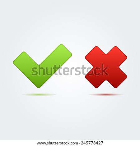 Check mark correct and wrong icon great for any use. Vector EPS10. - stock vector