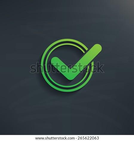 Check mark design on blackboard background,clean vector - stock vector