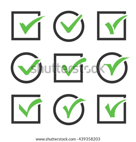Check mark icon boxes vector set. Sign of confirmed check mark and positive check mark illustration - stock vector