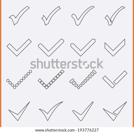 Check mark Icon in thin line style - stock vector