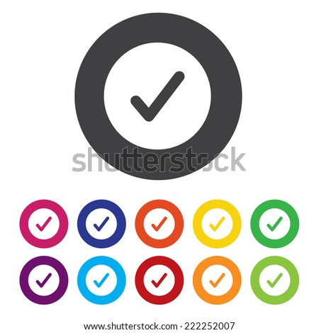 Check mark icon. Yes symbol. Confirm and approved button.  - stock vector