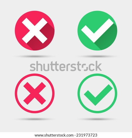 Check mark icons. Flat design style vector illustration - stock vector