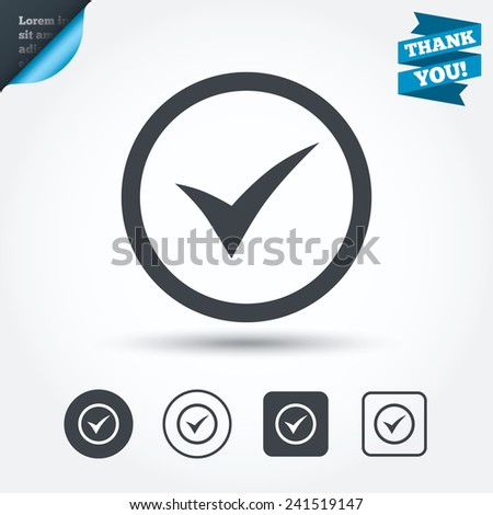Check mark sign icon. Yes circle symbol. Confirm approved. Circle and square buttons. Flat design set. Thank you ribbon. Vector - stock vector