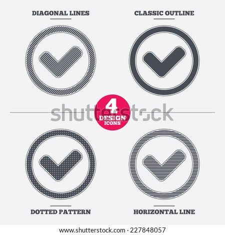 Check mark sign icon. Yes circle symbol. Confirm approved. Diagonal and horizontal lines, classic outline, dotted texture. Pattern design icons.  Vector - stock vector