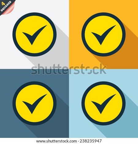 Check mark sign icon. Yes circle symbol. Confirm approved. Four squares. Colored Flat design buttons. Vector - stock vector